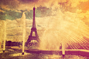 Summer Landscape Art - Eiffel Tower in Paris Fance in retro style by Michal Bednarek
