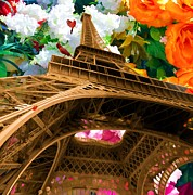 Liane Wright Posters - Eiffel Tower on a bed of decorative flowers Poster by Liane Wright