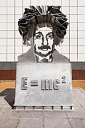 Einstein Posters - Einstein Sculpture Emc2 Canberra Australia Poster by Colin and Linda McKie