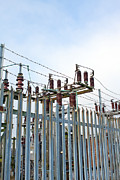 Grid Photos - Electricity Sub Station Behind Barbed Wire by Fizzy Image