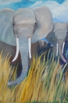 Wild Animals Paintings - Elephant Charge by Lynn Beazley Blair