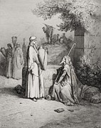 Religion Drawings Posters - Eliezer and Rebekah Poster by Gustave Dore