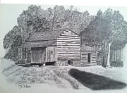 Tennessee Drawings - Elijah Oliver Cabin by Tony Clark