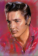 Singer Drawings - Elvis Presley by Viola El