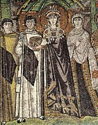 Byzantium Posters - Empress Theodora With Her Court. Ca Poster by Everett
