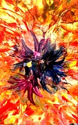 Alcohol Ink Prints - Encaustic Wax and Alcohol Ink Blossoms Print by Alexis Bonavitacola