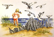 Seagull Drawings Metal Prints - Encountering The Winged Ones Metal Print by Yvonne Blasy