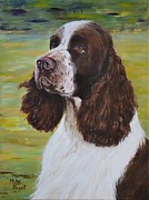 Springer Spaniel Paintings - English Springer Spaniel by Mike Paget