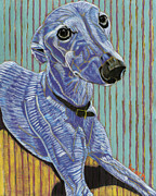 Pet Portraits Paintings - Enlightenment Conceives A Cerulean Sighthound by David  Hearn