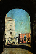 Watch Tower Prints - Entrance to the Dublin Castle. Streets of Dublin. Painting Collection Print by Jenny Rainbow