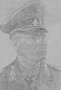 Army Drawings Originals - Erwin Rommel by Dennis Larson