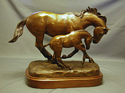 Horses Sculpture Prints - Euphoria bronze mare and foal horse sculpture Print by Kim Corpany