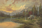 River Cabin Framed Prints - Evening Majesty Framed Print by Thomas Kinkade