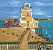 New England Lighthouse Prints - Everything Was Illuminated Print by Anne Klar