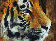 Zoo Mixed Media Prints - Eye Of The Tiger Print by Zeana Romanovna