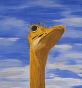 Ostrich Painting Framed Prints - Eye to the Sky Framed Print by Tim Townsend