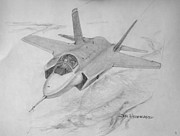 Airplanes Drawings Posters - F-35 Joint Strike Fighter Poster by Jim Hubbard