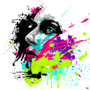 Vibrant Color Digital Art - Face Paint 2 by Jeremy Scott