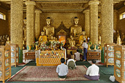 Birma Prints - faithful Buddhists praying at Buddha Statues in SHWEDAGON PAGODA Print by Juergen Ritterbach