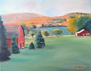 Landscape With Mountains Originals - Fall Farm by Dorothy Siclare