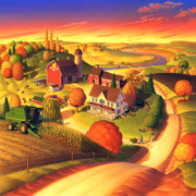 Folk Art Prints Posters - Fall on the Farm  Poster by Robin Moline