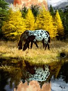 Cheetah Digital Art Prints - Fall Reflections Print by Roger D Hale