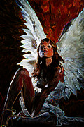 Wings Drawings - Fallen Angel by Tbone Oliver