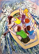 White Water Rafting Paintings - Family Vacation by Marilyn Jacobson
