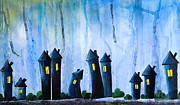 Tranquil Drawings Prints - Fantasy Art - Night lights Print by Nirdesha Munasinghe