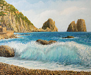 Italian Mediterranean Art Paintings - Faraglioni on Island Capri by Kiril Stanchev