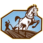 Farmer Digital Art - Farmer and Horse Plowing Farm Retro by Aloysius Patrimonio
