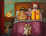 Mustache Framed Prints - Fast Food Nightmare Framed Print by Leah Saulnier The Painting Maniac