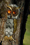 Jewelry Prints - Faux Owl with Golden Eyes Print by Amy Cicconi