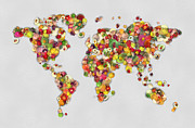 Feed The World Posters - Feed the World - World Map made of vegetable and fruits Poster by Lilia D
