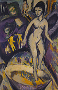 Full-length Portrait Metal Prints - Female Nude with Hot Tub Metal Print by Ernst Ludwig Kirchner
