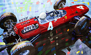 Classic Mixed Media Framed Prints - Ferrari 158 F1 1965 Dutch GP Lorenzo Bondini Framed Print by Yuriy  Shevchuk