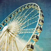 Wheel Photo Metal Prints - Ferris wheel retro Metal Print by Jane Rix