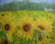 Field Of Sunflowers Paintings - Field of Sunflowers by Brenda Mullaney