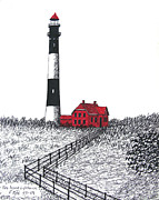 Lighthouse Drawings - Fire Island Lighthouse by Frederic Kohli