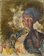 Tibetan Paintings - Firelit Woman by Ellen Dreibelbis