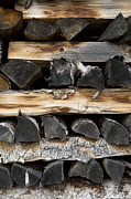 Fireplace Prints - Firewood Stack Print by Frank Tschakert