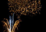 Fireworks 2013 In Elegant Gold And Black Print by Marianne Campolongo