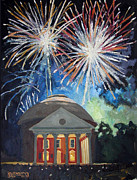 Fireworks Paintings - Fireworks Over The Rotunda by Robert Holewinski