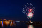 Pyrotechnics Prints - Fireworks over the York River Print by James Drake