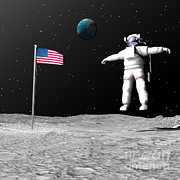 World Events Prints - First Astronaut On The Moon Floating Print by Elena Duvernay