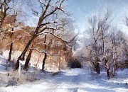 Snow Scene Metal Prints - First snow Metal Print by Gun Legler