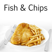 Words Background Prints - Fish and Chips Print by Colin and Linda McKie