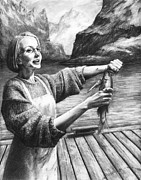Seashore Drawings Metal Prints - Fish Woman Metal Print by Mark Zelmer