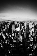 Manhaten Prints - Fisheye View North Towards Central Park New York City Usa Print by Joe Fox