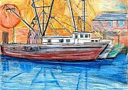 Fishing Pastels Posters - Fishing Trawler Poster by Eric  Schiabor